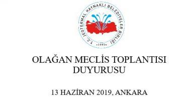 T.C. Jeotermal Kaynaklı Belediyeler Birliği'nden Olağan Meclis Toplantısı Duyurusu